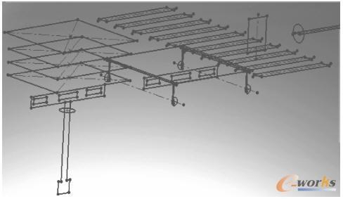 三维系统骨架装配示意图-钼铁桶物料自动运送生产线机械设计技术
