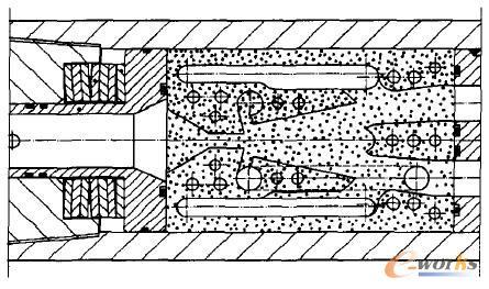 """""""碟簧架-射流元件""""段结构剖面图"""